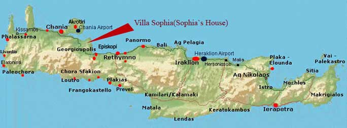 Sophias House villa location map of Crete